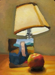 apple and lamp